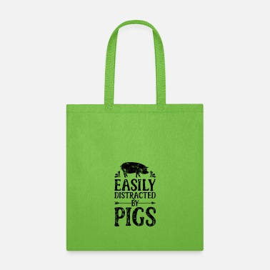 Farmer Easily Distracted By Pigs T Shirt Funny Pig - Tote Bag