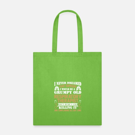 Therapy Bags & Backpacks - Grumpy Old Respiratory Therapist T Shirt - Tote Bag lime green