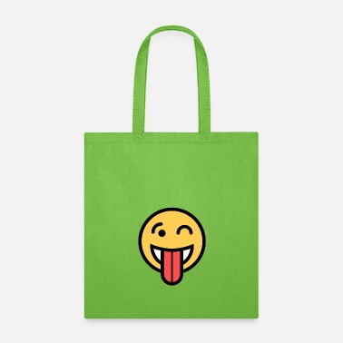 Squint Smiley Face Big Tongue Out And Squinting Joking Happy Face - Tote Bag