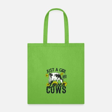 Farmer Just a girl who loves cows sunflowers cow love - Tote Bag