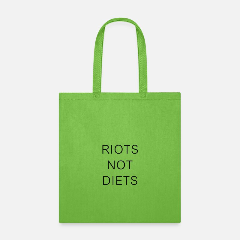 Symbol  Bags & backpacks - Riots Not Diets - Tote Bag lime green