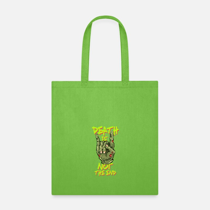Zombie Apocalypse Bags & backpacks - Death Is Not The End | Halloween Zombie Rocker - Tote Bag lime green