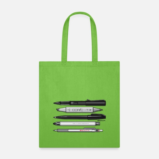 White Bags & Backpacks - Pro Pens (Grey) Rotring 600, Lamy, Koh-I-Noor, Pen - Tote Bag lime green