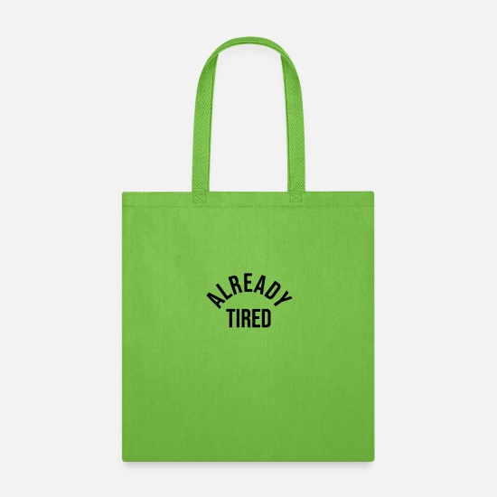 Labor Bags & Backpacks - already tired - Tote Bag lime green