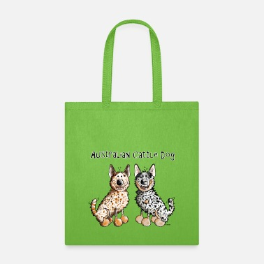 Australian Cattle Dogs Cartoon Two funny Australian Cattle Dogs - Dog - Tote Bag