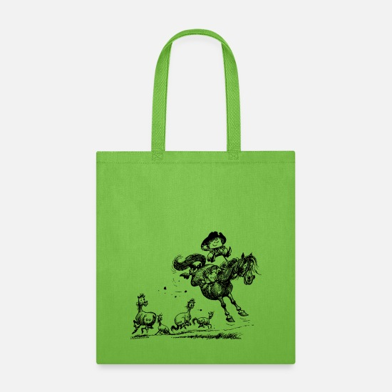 Norman Bags & Backpacks - Thelwell Horseman Taming Wild Horse - Tote Bag lime green