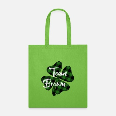 Team Brown Plaid Shamrock - Tote Bag