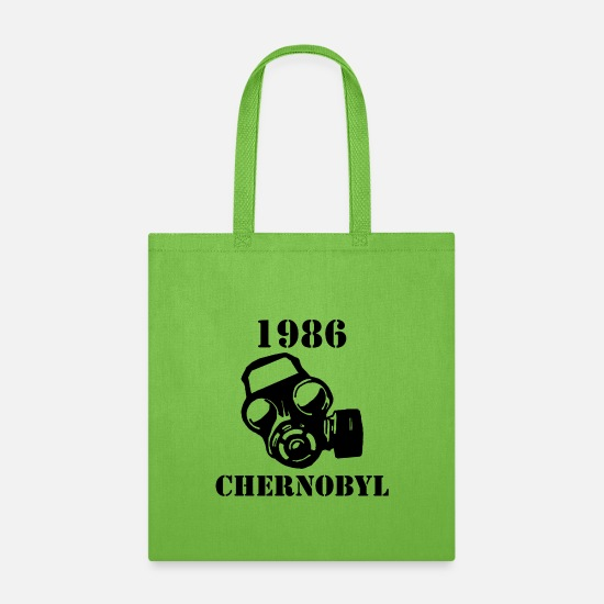 Gift Idea Bags & Backpacks - Chernobyl 1986 Gas mask gift - Tote Bag lime green