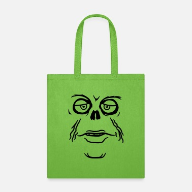 Evil zombie unhappy face mouth sad monster eyes skeleto - Tote Bag