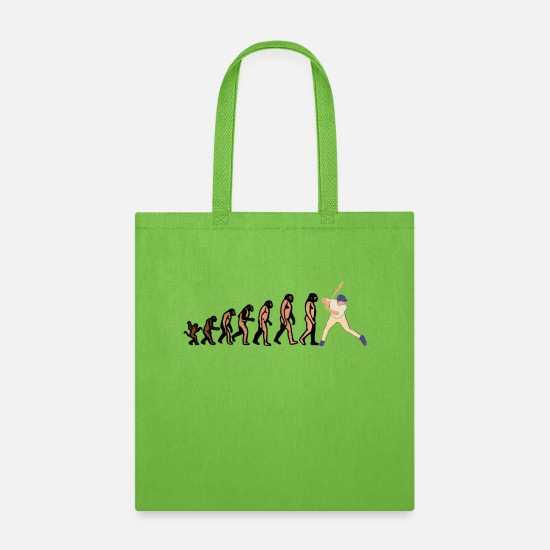 Couples Bags & Backpacks - EVOLUTION BASEBALL player baseball player Shirt - Tote Bag lime green