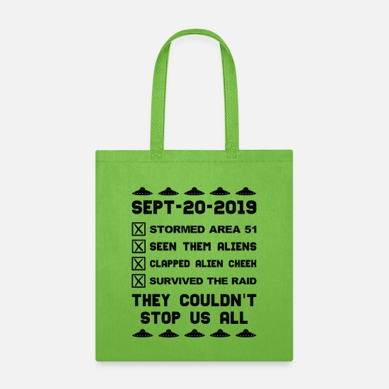 Area Bags & Backpacks - Storm Area 51 Checklist - Tote Bag lime green