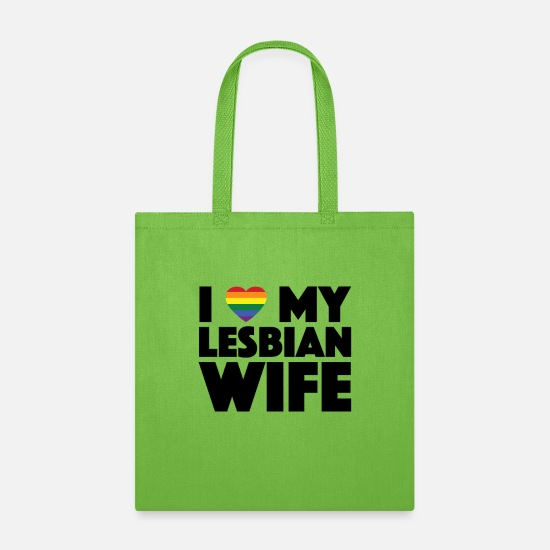 Gay Pride Bags & Backpacks - Gay Couple Lesbian Pride LGBT Flag Wife Wedding - Tote Bag lime green