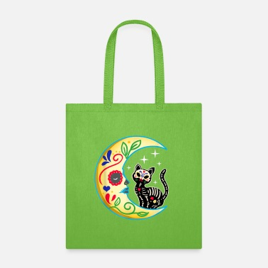 Cat & Moon Sugar Skull Dia de Los Muertos, Day - Tote Bag