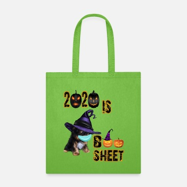 Ghost 2020 Boo Sheet-Yorkshire Dog Wearing Purple Hat. - Tote Bag