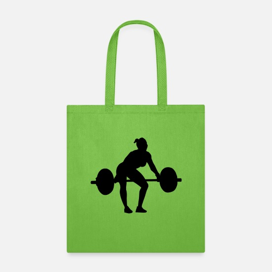 Crossfit Bags & Backpacks - Woman snatch pull 1 - Tote Bag lime green
