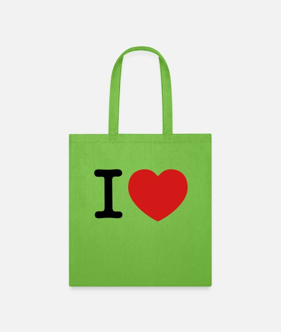 Concept Bags & Backpacks - I Love - Tote Bag lime green