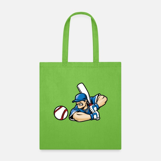 Player Bags & Backpacks - baseball player - Tote Bag lime green