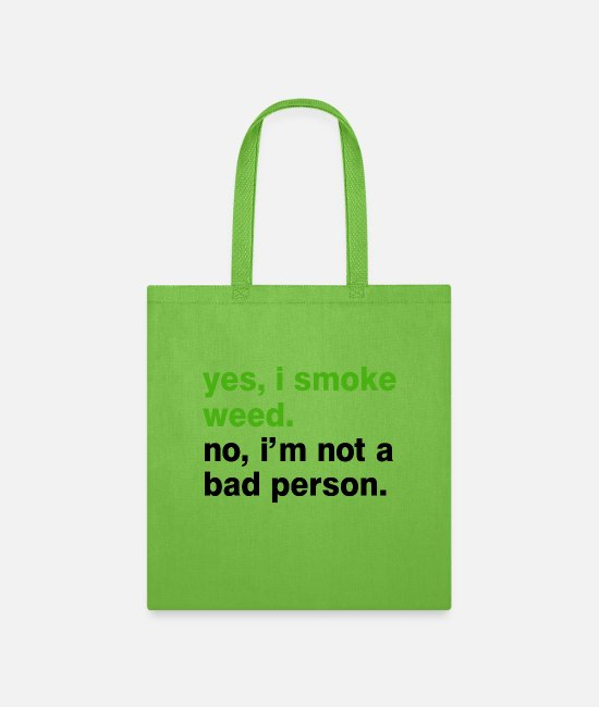Rasta Bags & Backpacks - Yes I smoke weed - Black - Tote Bag lime green
