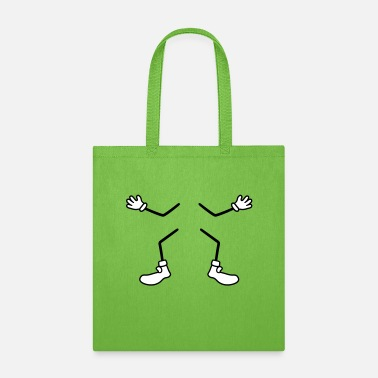 Cartoon Hands legs arms hands feet shoes gloves comic cartoon wi - Tote Bag