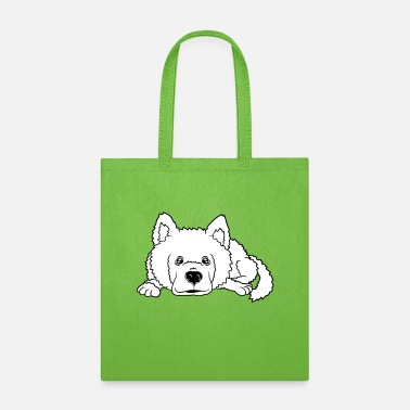 Mischievous cute cute dog small lying pet husky white fur misc - Tote Bag