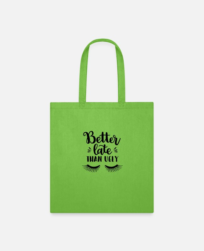 Late Risers Bags & Backpacks - better late than ugly - Tote Bag lime green