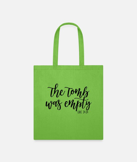 Jesus Bags & Backpacks - The Tomb Was Empty - Tote Bag lime green