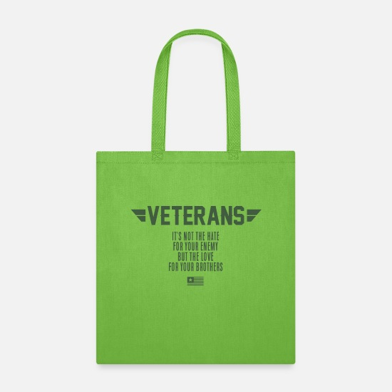 Support Bags & Backpacks - Veteran T-shirt. Support Veterans Day tshirt - Tote Bag lime green
