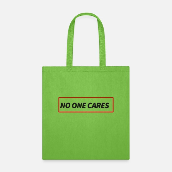 No Bags & Backpacks - NO ON CARES - Tote Bag lime green