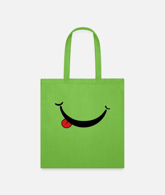 Red Bags & Backpacks - Smile Tongue Red - Tote Bag lime green