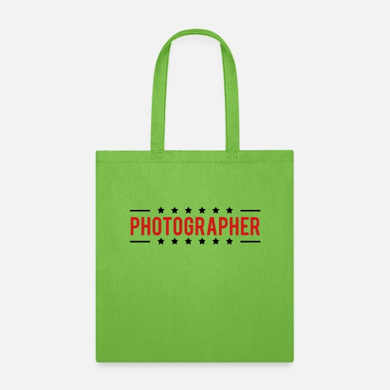 Photographer Bags & Backpacks - Text Logo Photographer Star - Tote Bag lime green