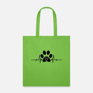 Paw Dog Paw with heart beat - Tote Bag