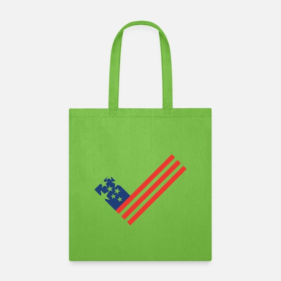 Usa Bags & Backpacks - USA flag element as a tick mark - Tote Bag lime green