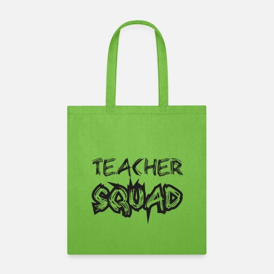 Back To School Bags & Backpacks - Teach squad - Tote Bag lime green