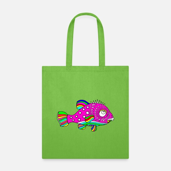 Fish Bags & Backpacks - Cool Colors fish - Tote Bag lime green