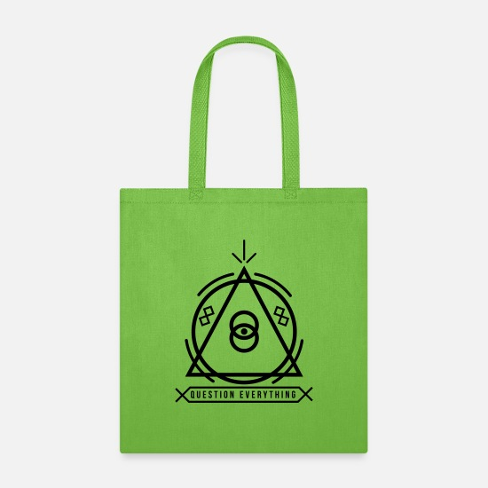 Conscious Bags & Backpacks - 'Question Everything' illuminati emblem - Tote Bag lime green