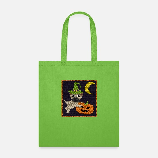 Pug Bags & Backpacks - Halloween Pug Dog Stained Glass Design - Tote Bag lime green