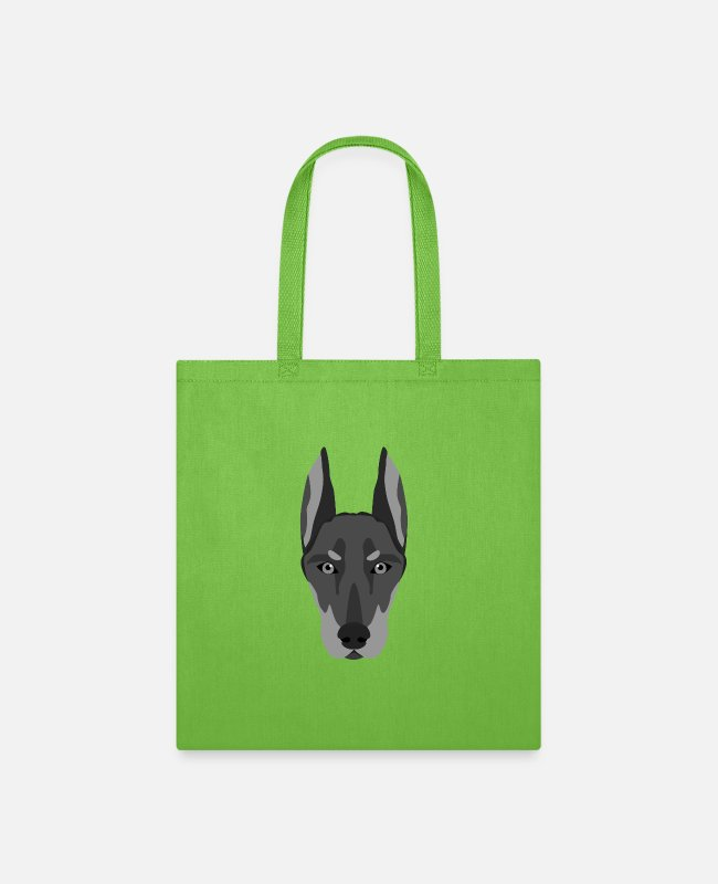 Working Dogs Bags & Backpacks - Doberman dog breed dog owner's favorite dog - Tote Bag lime green