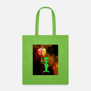 GREEN ALIEN WITH BALLOONS - Tote Bag
