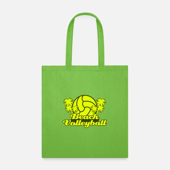 Gift Idea Bags & Backpacks - Beach Volleyball Beach Sport Hobby Platform - Tote Bag lime green