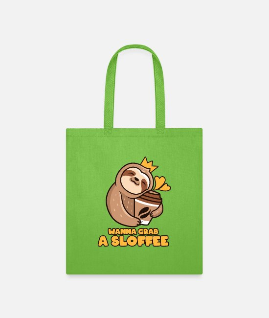 Daily Bags & Backpacks - wanna get a sloffee coffee gift - Tote Bag lime green