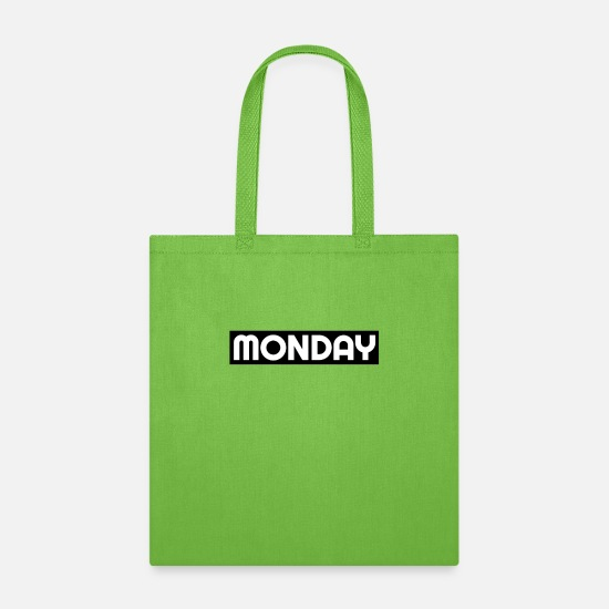 Assembly Bags & Backpacks - Monday mornings work - Tote Bag lime green