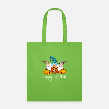 Gnome Happy Fall Y'all Gnome Leopard Pumpkin Funny Autum - Tote Bag