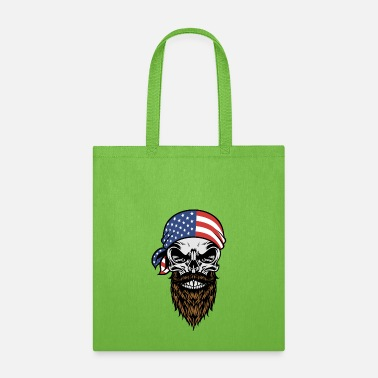 American Beard Skull with USA Flag Head Bandana - Tote Bag