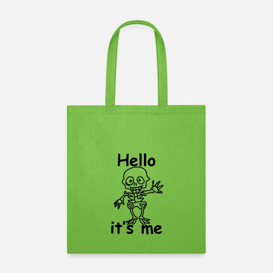 Skull Bags & Backpacks - Hello it's me Skull - Tote Bag lime green