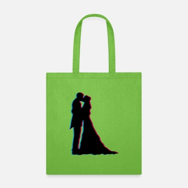 Clip Art 3D effect kissing wedding couple in love love silh - Tote Bag
