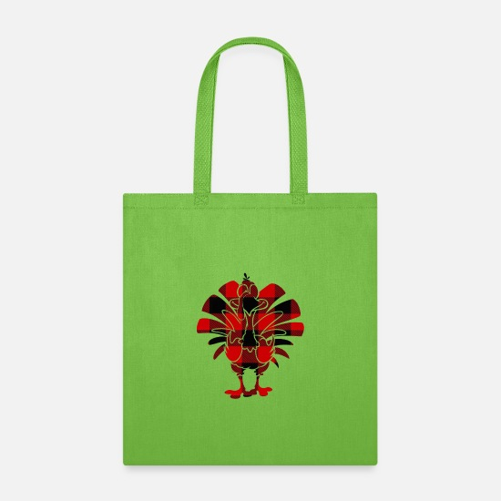 Red Deer Bags & Backpacks - Red Buffalo Turkey Thanksgiving t shirts - Tote Bag lime green