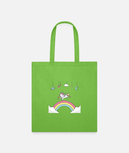 Happy Holidays Bags & Backpacks - happy to run the unicorn - Tote Bag lime green
