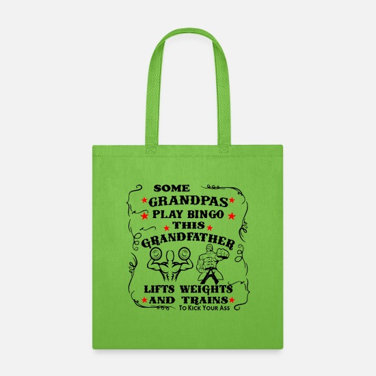 Warrior Bags & Backpacks - This Grandfather Lifts Weights & Trains To Kick Yo - Tote Bag lime green