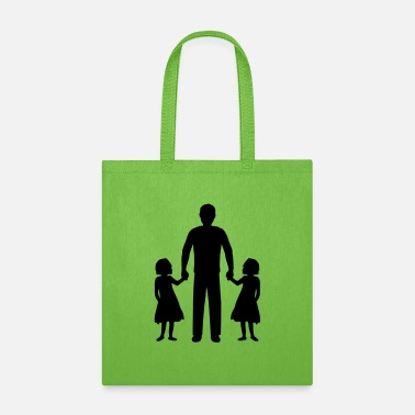 Child Dad daughters twins - Tote Bag