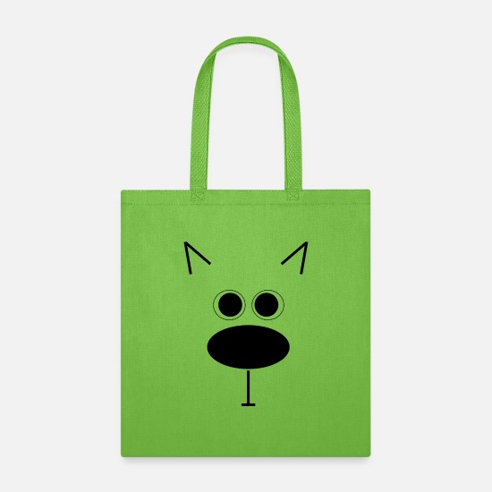 Gift Idea Bags & Backpacks - dog face - Tote Bag lime green
